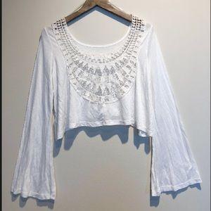 Crochet Back Bell Sleeved Crop Top